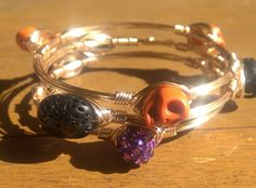Halloween Stack - Holiday Bangle - Spooky Bracelet - Stacking Layering by HolyCityBeads on Etsy