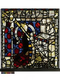 The donor of the window, Bishop Walter Skirlaw, is depicted in this panel. He prays before an altar which bears his shield of arms. York Minster, East Yorkshire, Mosaic Glass, Altar, Bears, Window, Windows, Bear