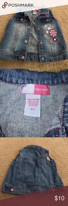 Skechers girls 4T embroided jean vest Skechers girls size 4T embroided jean vest 100% cotton Skechers Jackets & Coats Vests