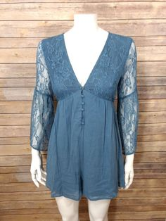 834f6700774 LUSH Bell Sleeve Lace Romper Women Sz. S Blue Floral BOHO  fashion  clothing