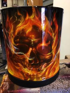 Camera Lens Hood - Airbrushed with Skulls and True Fire by Mike Lavallee of Killer Paint - www.killerpaint.com