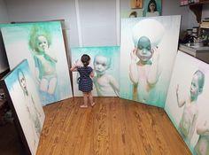 Ali Cavanaugh - watercolor artist - studio - Look at the scale of the paintings!