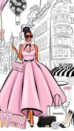 Art Black Love, Black Girl Art, My Black Is Beautiful, Art Girl, Art Mural Fashion, Fashion Art, Fashion Design, Black Art Painting, Black Artwork