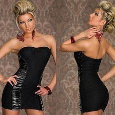 Women's Sheath Column Strapless Backless Sexy PU Lace Wrap Evening Dresses