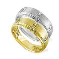 Yellow Gold Gents Maile Leaf Wedding Band with Diamonds (Available in 14K Yellow or 14K White Gold) - Rings - Jewelry Type