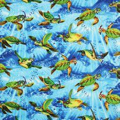 Timeless Treasures Snorkeling Sea Turtles Blue