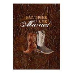 vintage leather cowboy country  rehearsal dinner custom invitations