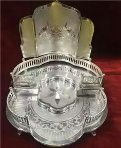 Silver Lamp, Silver Trays, Silver Spoons, Silver Filigree, Antique Silver, Silver Pooja Items, Pooja Room Door Design, Puja Room, Gold Ornaments
