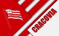 Download wallpapers KS Cracovia, 4k, logo, material design, Polish football club, red white abstraction, Krakow, Poland, Ekstraklasa, football, Cracovia FC