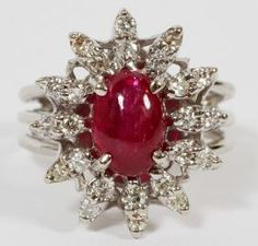 http://rubies.work/0480-sapphire-ring/ 18K WHITE GOLD CABOCHON RUBY AND DIAMOND RING
