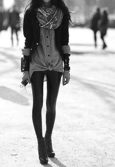 For me ... I would wear Jeans with this look......not leggings!!