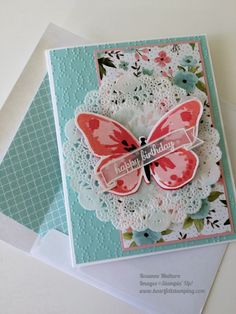 Stamps:  Watercolor Wings, Butterfly Basics, Number of Years, Express Yourself Inks:  Blushing Bride, Calypso Coral, Watermelon Wonder, Basic Black. Paper:  Blushing Bride, Pool Party, Watermelon Wonder, Whisper White Thick, Birthday Bouquet, Subtles DSP, White Vellum, Whisper White Envelope.  Embellishments:  Doilies, White Embossing