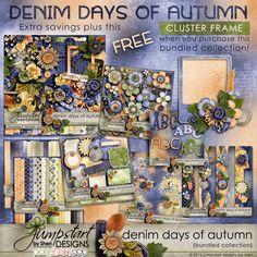 Denim Days of Autumn ~ Bundled Collection Digital scrapbook kits $