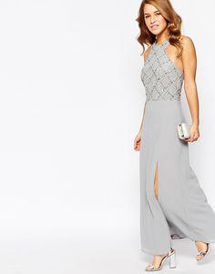 Image 4 of Maya Petite Halter Embellished Body Maxi Dress