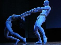 """"""" Two Pilobolus dancers perform """"Symbiosis."""" Does it trace the birth of a relationship? Or the co-evolution of symbiotic species? """"Fratres,"""" Arvo Part; """"Morango…Almost a Tango,"""" Thomas Oboe Lee. Camouflage Art, Arvo Part, Dance Playlist, Dance World, Dance Movement, Street Dance, Dance Company, Modern Dance, Dance Art"""