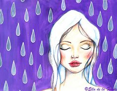 art journal mixed media- Girl in the rain- Ella de la Fuente