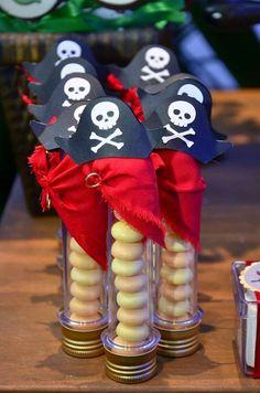 Festa Infantil - Pirata #6 Tubinhos de balas enfeitados