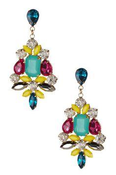 Multicolor Brooch Statement Dangle Earrings  By: T & J Designs   @ HauteLook.com, $15, reg. $30