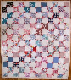 Doll Quilt Vintage Hand Pieced - Tied in Red, Collector With A Needle