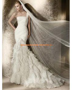 2013 Wunderschöne elegante Brautkleider aus Organza Meerjungfrau mit Schleppe