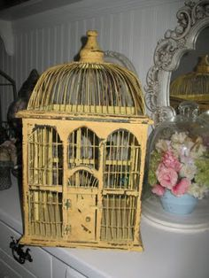 yellow bird cage...for the plant ledge...thrift store maybe?