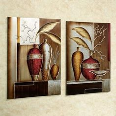Foliage in Vases Canvas Wall Art Multi Metallic Set of Two