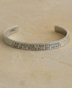 Vincent Van Gogh Quote Cuff Bracelet, I Am Seeking