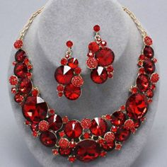 Chunky Red Crystal Gold Chain Necklace Earring Set Fashion Costume Jewelry | eBay