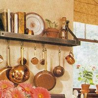 "Features:  -Wrought Iron.  -Includes: Pot Rack, 12 Pot Rack Hooks, 3 Wall Screws and 3 Wall Anchors.  Material: -Metal.  Hardware Material: -Metal. Dimensions:  Overall Height - Top to Bottom: -12""."