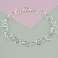 This sterling silver heart bracelet, is an adorable way of showing someone how much you love them. Forever linked, forever loved. The perfect gift, from a mother to a daughter, bride to...
