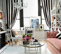 A PR Firm.  Love the vertical striped curtains!
