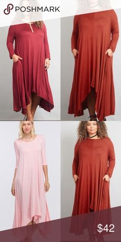 Plus size Best selling Maxi 3/4 sleeve Rust Absolutely wonderful!!  Best selling swing Maxi dress. Scope neck line side pockets.   3/4 sleeves  . Material : 95% Rayon 5% Spandex     Super Soft and Stretchy   Color  Rust : 🌹Rose also available different-post .  Size XL. XXl XXXL  These run slightly oversized . 🌹Do not make me low ball offers! Dresses Maxi