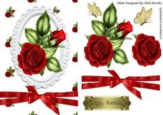 Red roses in white ornate frame with red bow on Craftsuprint - Add To Basket!