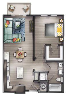 Studio Apartments Nashville | Peyton Stakes Luxury Apartments: A4  1 Bed | 1 Bat...  #A4 #Apartments #bat #bed #luxury #Nashville #Peyton #Stakes #studio