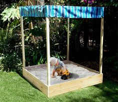 Kids love sandpits, this is a great DIY sandpit. This make a great clean, safe environment to play in with a shade to ensure your child stays out of the sun. Would still recommend sunblock ;o)