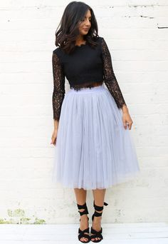 High Waisted Tulle Midi Skirt in Mid Grey - One Nation Clothing - One Nation Clothing - 1