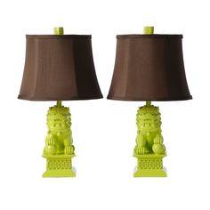 Barbara Cosgrove Foo Dogs Mojito Mint Gloss Table Lamps   #homedecor # Lighting #accessories