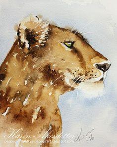Peppermint Patty's Papercraft: August 2016 Watercolor Lion, Watercolor Animals, Lvi, Lion Art, Peppermint Patties, Art Techniques, Watercolors, Tattoo Ideas, Corgi