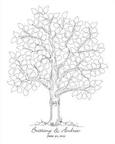 Hand sketched wedding tree black and white Modern by fancyprints, $45.00