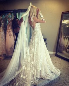 When you look in the mirror with that dreamful wedding gown for the first time. #GLbride_to_be @Sasha.Romanova22 flourished with flattering embroidery flowers.