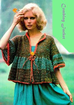 INSTANT DOWNLOAD  Vintage 70s Crochet Jacket PDF Pattern - Retro Eco Fashion  Vintage 70s Bohemian Crochet Jacket - PDF Pattern. Inspired by the rich colors of nature. You will receive instructions to crochet your own jacket as shown in pictures. This is what a bad hair day looked like back in the 70s 8-) Copyright, 1970s. COMBING JACKET  SIZES: Directions are for size Small (8–10). Changes for sizes Medium (12–14) are in parentheses.  MATERIALS REQUIRED: Tahki Tweed Donegal Homespun (100 g…