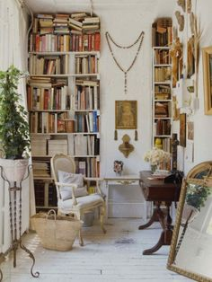 home inspiration, home office decor, home office ideas, small spaces, bookcases