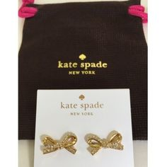♠️Kate Spade pave gold bow earrings Kate Spade gold pave bow earrings. 12 karat gold plated metal. 14 karat gold filled posts. kate spade Jewelry Earrings