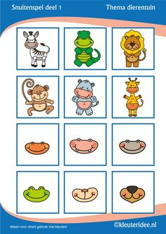 Muzzle Game for preschoolers Part 1 theme zoo, Miss Petra Nursery Idea snout game for preschool, free printable. Animal Crafts For Kids, Kids Crafts, Le Zoo, Apple Activities, Animal Puzzle, My Little Baby, Cat Crafts, Zoo Animals, Pre School