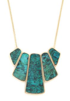 Happily Ever Abalone Necklace: If ever you could imagine a soul-mate of an accessory  it was this gorgeous necklace! Bedecked in its green-blue shells  you cant imagine a better look. Youve h…    #1960s #60s #Retro #Vintage #Green, #HappilyEverAbaloneNecklace, #ModCloth