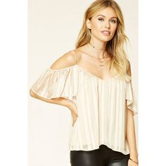 Forever21 Contemporary Open-Shoulder Top ($18) via Polyvore featuring tops, white top, camisole tops, white cami top, v-neck tops and white v neck top