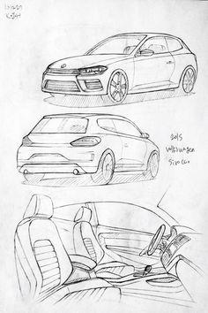 Car drawing 151227.  2015 Volkswagen Sirocco.   Prisma on paper.  Kim.J.H