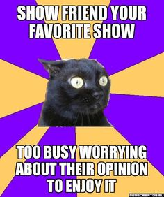 show friend your favorite show too busy worrying about their opinion to enjoy it - Anxiety Cat