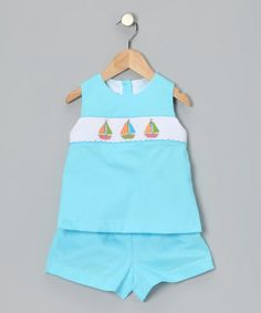 Take a look at this Turquoise Sailboat Tunic & Shorts - Toddler & Girls by Petite Palace on #zulily today!