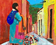San Miguel de Allende is a charming Mexican town. Little town in Mexico, bright, colorful street. I wanted to express the brightness, colorful opulence, and vivacious exuberance of this area. It will make a wonderful Gift for anyone who appreciates bright , happy, colors and Mexican art!  Title: Zacateros street in San Miguel de Allende with pinatas SIZE: 25 1/2x19 3/4  65cm x 50cm MEDIUM: Acrylic on paper SERIES: Mexican Doors , México  ARTIST SIGNED: Yes - Front CERTIFICATE OF AUT...